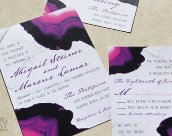 NEW for 2017! Agate and Stone Wedding Invitation Set. Gemstone Wedding Invitation. Purple Agate Wedding.