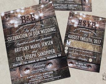 Rustic Wine Barrel and fairy lights Wedding Invitations.