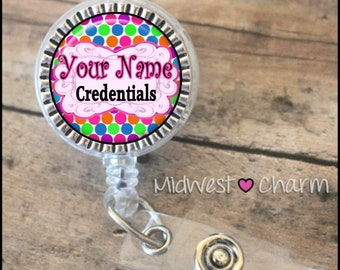Colorful dots2..Personalized retractable badge reel pinch...nurse.labor and delivery..lpn..rn..md..id holder..lanyard..bottlecap jewelry