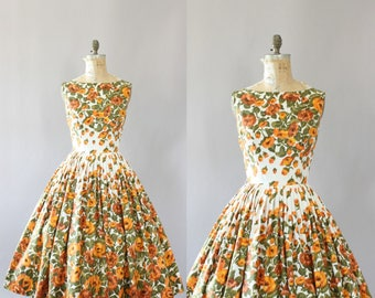 Vintage 50s Dress/ 1950s Cotton Dress/ Jay Herbert Orange and Green Floral Cotton Dress w/ Full Skirt M