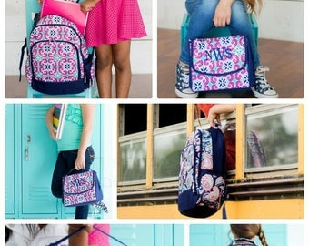 Pink, Mint, Navy Tile Monogrammed Backpack, Matching Lunchbox can also be purchased