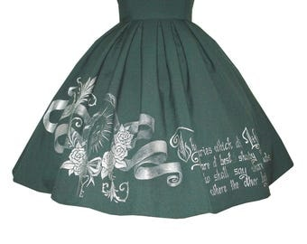 HANDPAINTED script print SKIRT   steapunk gold silver calligraphy print gothic classic lolita pleated skirt motivational quote statement