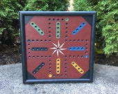 "13"", Aggravation, Game Board, Primitive, Folk Art, Game Boards, Wood, Wooden, Hand Painted"