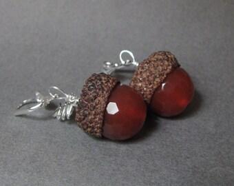 Carnelian Real Acorn Silver Earrings with Oak Leaves