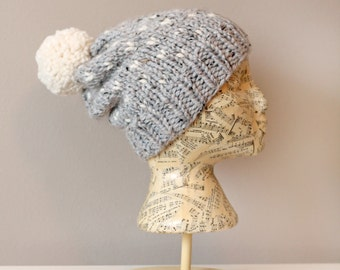 Woman's Heart Fair Isle Knitted Slouchy Hat- Light Grey with Off White - Hearts