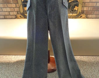 Vintage 70s Wool High Waisted Bell Bottom Trousers Slacks Pants