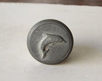 Vintage Pewter Pill Box Dolphin Trinket Box Signed Seagull Pewter Little Pewter Box with Dolphin on Lid 1980s