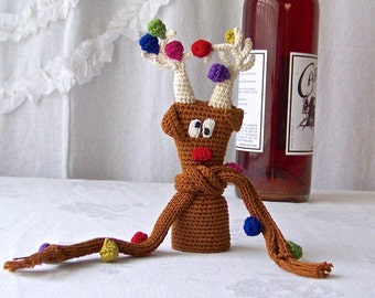 Vintage Wine Bottle Cozy Reindeer Wine Cap Cover Knit Hostess Gift Armenia 1980s