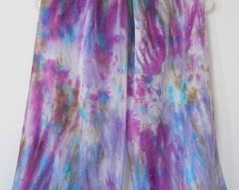 """HAND DYED SILK Scarf  — Purple, Teal, Turquoise & Khaki — 11"""" Wide, 56"""" Long"""
