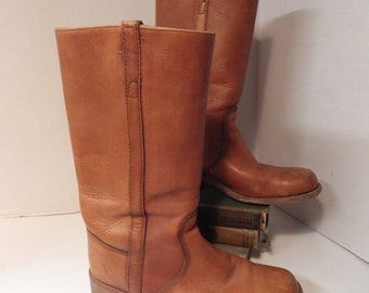 Vintage Frye tan leather Campus Boots Mens size 10