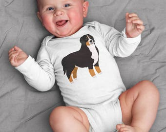 Baby clothes, Bernese Mountain Dog baby bodysuit for baby boy or baby girl, baby shower gift