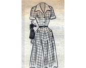 """50s Vintage Sewing Pattern Day Dress with Contrast Collar and Cuffs & Patch Pockets Bust 42"""" (108 cm) Marian Martin 9369 Mail Order"""