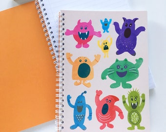 A5 Notebook Monsters Illustration Pattern Spiral Bound Journal