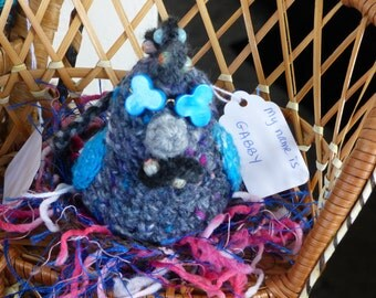 Crochet Chicken -GABBY- Gray fleck Chicken Amigurumi with gauges and glasses  - Chicken Stuffed Animal - Chicken Decor - Crochet Art