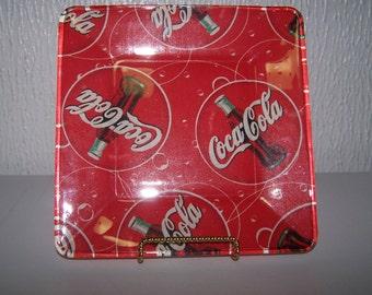 Coca Cola art. Retro coke ad. Coca Cola. Small serving plate. Summertime drink. Bar, pub. Coke glass. Vintage coke. Glass serving plate.
