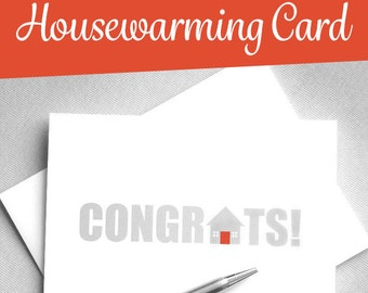 Printable Card. New House. New Home Card. Housewarming Card. Congratulations Card. Instant Download. Digital Download Greeting Card.