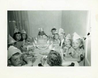 "Vintage Photo ""Wendy and Her Birthday Party"" Snapshot Antique Photo Old Black & White Photograph Found Paper Ephemera Vernacular - 149"