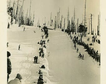 "Vintage Photo ""Waiting for the First Skier"" Snapshot Antique Photo Old Black & White Photograph Found Paper Ephemera Vernacular - 67"