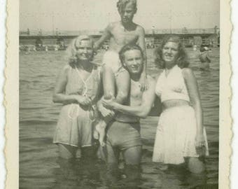 "Vernacular Snapshot ""Enjoying Summer Waters"" Swimming Swim Ocean Beach Sea Water Women Man Teen Boy Family Vacation Vintage Photograph - 109"