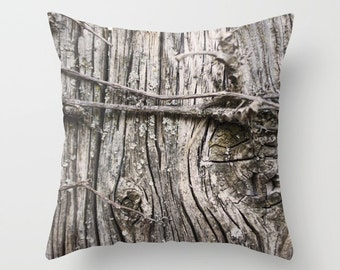 Weathered Wood Knot Pillow Cover, Wood Camo Cover , Photo Pillow Cover, Rustic Home Decor