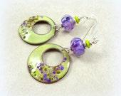 Artisan Boho Hoop Charm Earrings - Purple and Lime Green Hoop Earrings - Lime Green Enamel Charm Earrings with Purple Lampwork