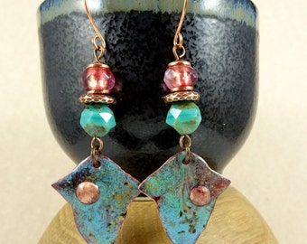 Turquoise and Copper Enamel Charm Earrings - Artisan Handmade Charms and Czech Beads - One of a Kind Earrings