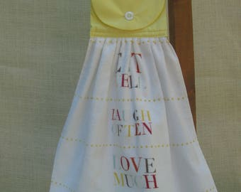 """Eat Well Kitchen Hanging Towel, Kitchen Tea Towel, """"Eat Well Laugh Often Love Much"""", Saying Towel"""
