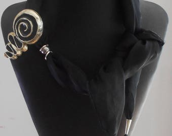 Jewelry, Scarf Jewelry,  Necklace, Black scarf,Scarf Pendant,BOHO. Vintage beads,Gifts for Her,Handmade