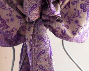 Pashmina,purple Pashmina,Lavender Shawl, Paisley Scarf,Pashmina shawl, Ethnic  Scarf,Scarves,Shawls,Vintage,Gift ,Prom Shawl,Wedding wrap