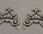 Sterling Silver Plated Brass Filigree Stampings 3-way Connectors 26x24mm (2 pcs) F-A5210-3-S