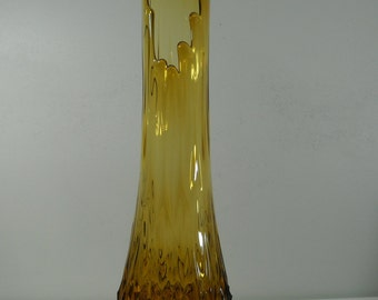 "Vintage Viking Glass Amber Floor Vase Stretch Swung Quilted Base 23 1/2"" Tall"