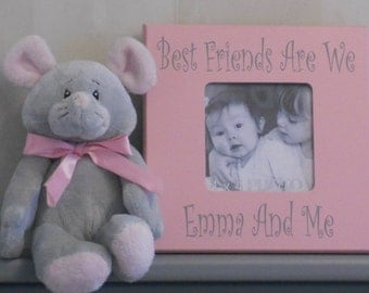 Picture Frame - Photo Frame - Wooden Display - Wood Picture Frame - Pink Gray Frame - Best Friends Are We