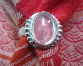 Transparent Rose Quartz in Granulated Argentium Ring, Size 7