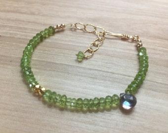 Green Peridot Bracelet, Peridot Gemstone Bracelet, Simple Peridot Bracelet, August Birthstone, Green Stone Bracelet, Gemstone Bracelet