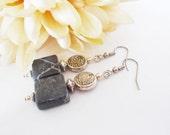 Black Gray Earrings, Mothers Day Gift for Her, Boho Beaded Earrings Dangle Sterling Silver Earrings, Best Selling Item Bohemian Jewelry Gift