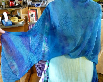 Use New Coupon Code this Month - 5POUNDSOFF - at Checkout box for Sample SALE Hand Painted Silk Shawl for Evening , Turquoise Blues