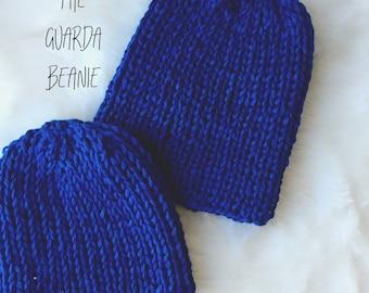 Knitted Beanie Pattern, Classic Beanie Hat PATTERN, Adult Beanie PDF Instant Downlaod, Guarda Beanie