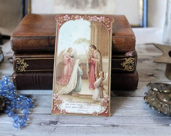French antiques pious image communion 1912 prayer collection religious Art Nouveau catholic french country Calais