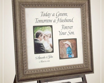 Personalized Picture Frames, Wedding Sign, Parents, Today A Groom, shower decor, Mother of the groom wedding gift, 16 X 16