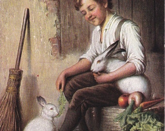 Bunnies- 1900s Antique Postcard- Pet Rabbits- Edwardian Boy- White Bunny- Lettuce and Carrots- Art Postcard- Paper Ephemera- Used