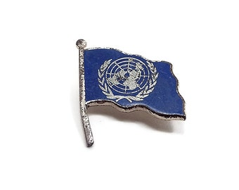 Small United Nations Flag Brooch Pin Blue Enameled Sterling Silver Mid Century