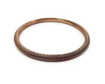 Gold Tone Mesh Vintage Bangle Bracelet Retro Womens 1980s 80s Metal Jewelry