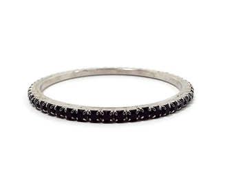 Black Rhinestone Vintage Bangle Bracelet Silver Tone Retro Womens Formal Jewelry Evening Wear 1970s 70s