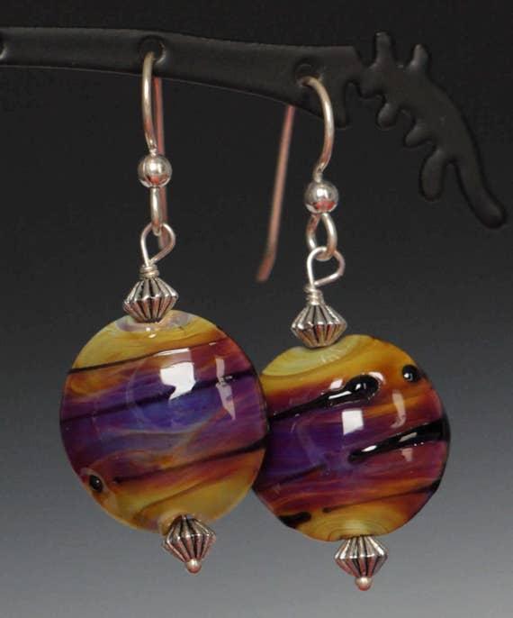 Earth tone Purple Glass Lampworking Sterling Silver Earrings
