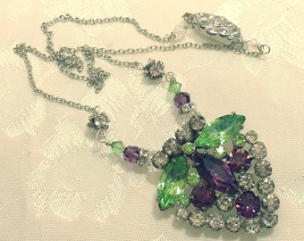 Amethyst Pendant ~ Purple Necklace ~ Rhinestone Dress Clip ~ Vintage Jewelry ~ Assemblage Necklace ~ Upcycled Jewelry ~ FREE SHIPPING