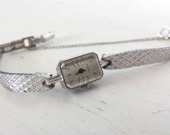 Movado Watch Vintage 14K White Gold Womens Watch 1940s Ladies Movado Mesh Band Wrist Watch Art Deco