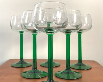 1970s set of six J.G. Durand emerald hock wine glasses / long stem French glass