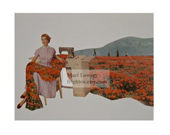 Spring Art Surreal Art Paper Collage Print Woman Sewing Field of Poppies Seamstress Gift 8.5 x 11 inch Print