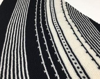 Impact - Handknit Shawl - High-End Designer- Triangular - Soft Merino - One Of A Kind