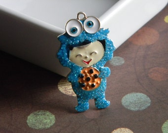 Cookie Monster Rhinestone Pendant Bubble Necklaces Sesame Street Key Chains Zipper Pulls Bubblegum Jewelry Ornaments Charms Child in Costume